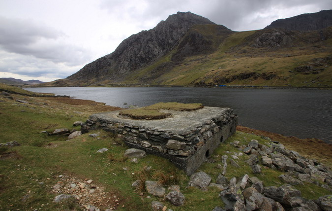 Pillbox, looking over Llyn Ogwen towards Tryfan