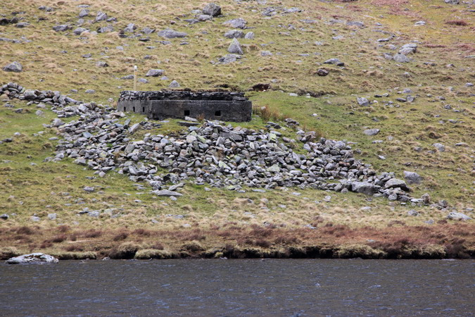 Looking over Llyn Ogwen to the pillbox on the northern shore