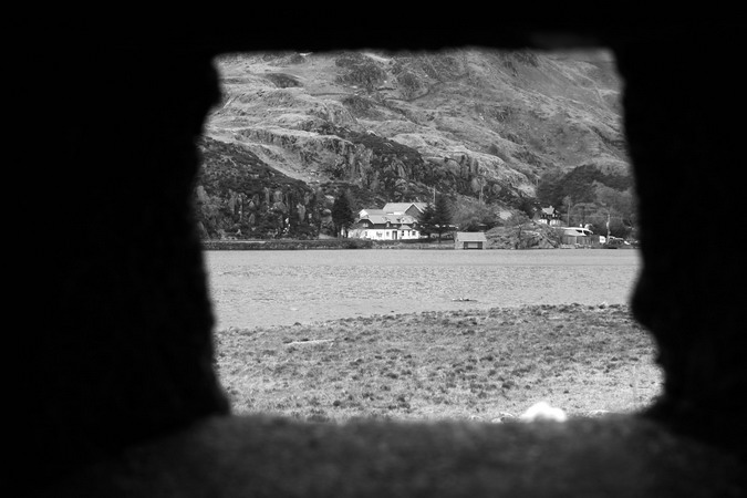 Through the loophole - looking towards Ogwen Cottage