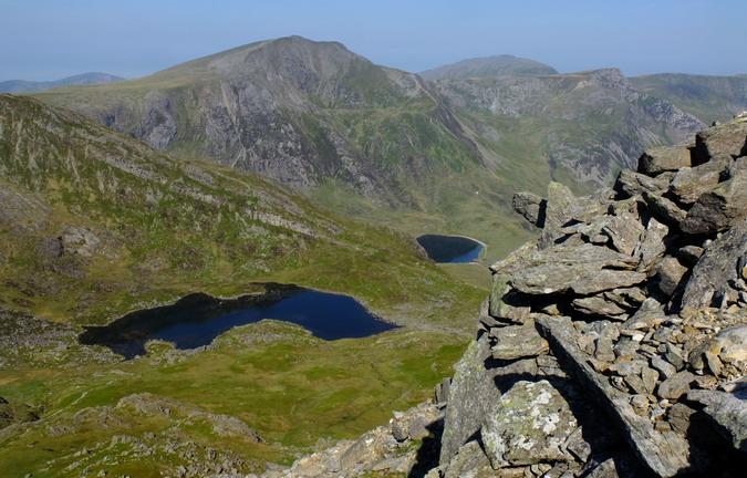Y Garn and the tarns Llyn Bochlwyd (left) and Llyn Idwal (right)