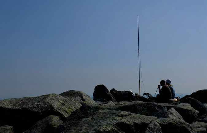 Amateur radio enthusiasts broadcasting from the summit