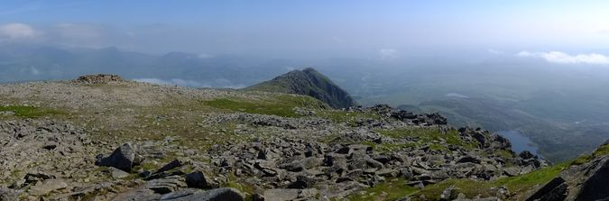Summit panorama with Llyn y Foel on the right