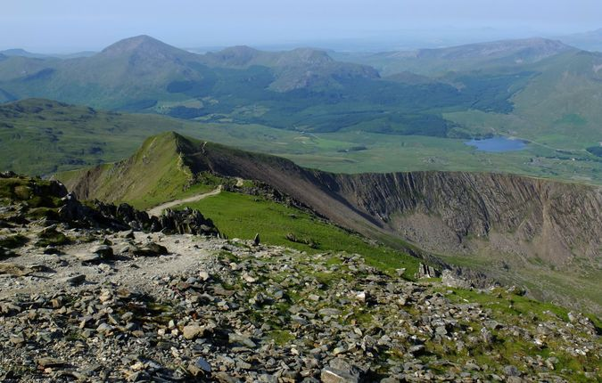From the summit of Snowdon, looking down the path to Bwlch Main with Clogwyn Du to the left and Llechog to the right