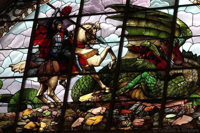 George and the dragon - the stained glass windows were added in 1883-84