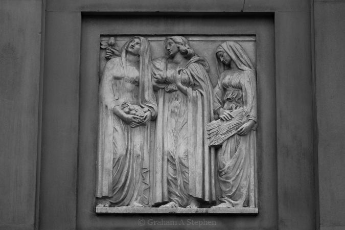 The series of relief panels on the eastern façade was added in 1882-1901