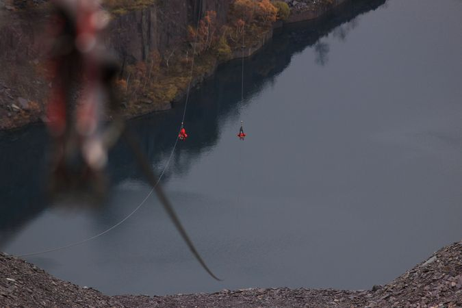Over the quarry pit