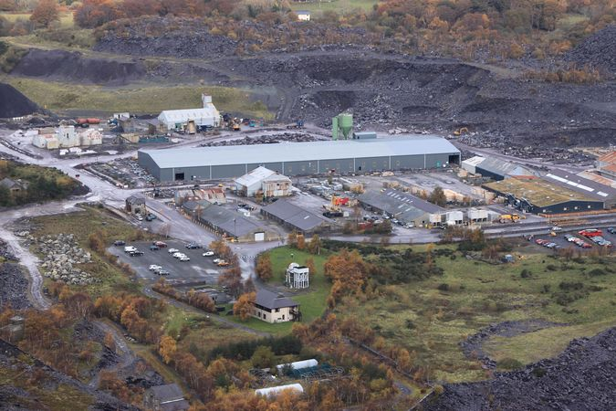View of Penrhyn Quarry slate processing plant from the top of the Big Zipper