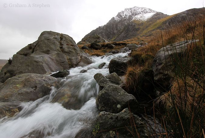 Nant Bochlwyd with Tryfan in the background