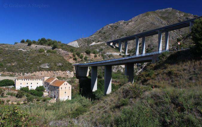 The Paper Mill, below the Río de la Miel viaducts of the N-340 coastal road and the A-7 (E-15 'Mediterranean Motorway')