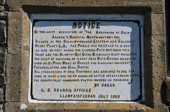 Public right of way notice, Llanfairfechan promenade