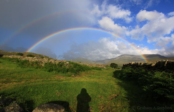 Primary and secondary rainbows.  Looking towards the Carneddau mountains.