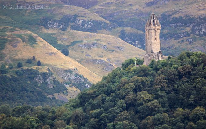 View of the National Wallace Monument from the castle esplanade.