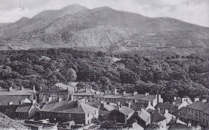 """Looking from Pantdreiniog Co-operative Quarry over Bethesda Chapel and part of the village towards the Penrhyn Slate Quarry"" from What I Saw At Bethesda [link to Great Strike post]"