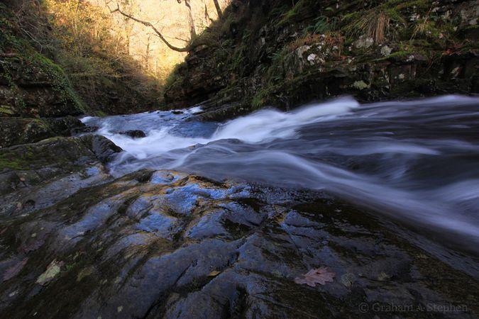 Afon Prysor, above Rhaeadr Du waterfall, Coed Felinrhyd