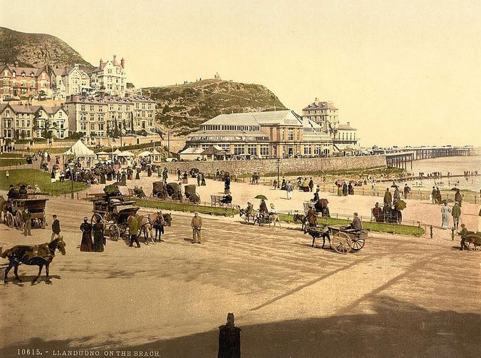 'Llandudno on the beach'.  Library of Congress collection of Views of landscape and architecture in Wales c. 1890-1900, photochrom prints (a lithographic process producing colorised images from black and white photographic negatives).