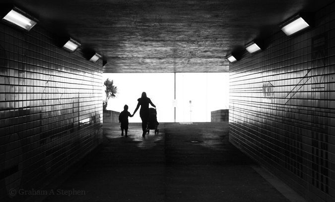 Underpass below the A55 North Wales Expressway, leading to Penmaenmawr promenade