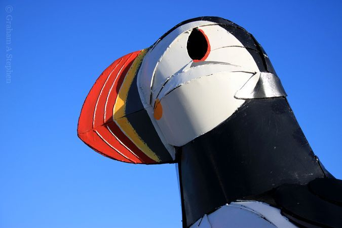 Sculpture at the entrance to the newly opened Puffin Café
