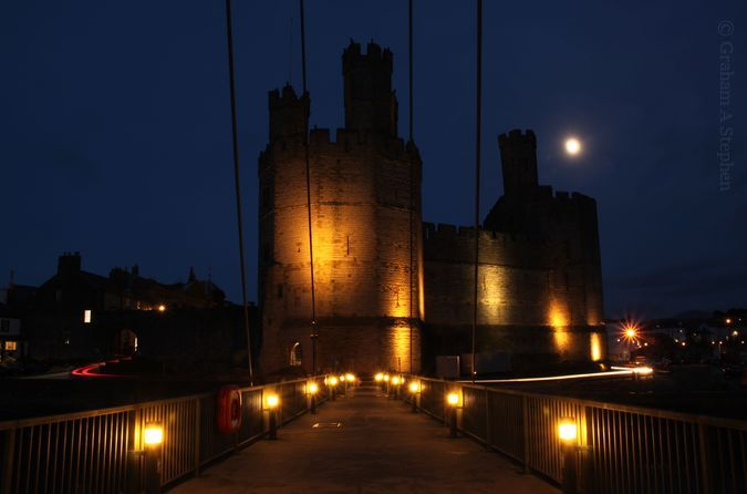 Looking along Aber Swing Bridge towards Caernarfon Castle