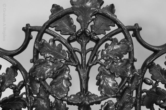 Oak and Ivy Chair – part of a garden bench and chairs set designed in 1859.  The Coalbrookdale Company produced a range of garden furniture featuring different floral designs.