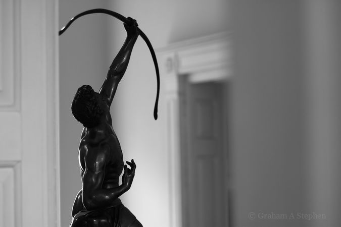 Eagle Slayer (John Bell), bronze sculpture cast by the Coalbrookdale Company around 1848.  The piece was purchased to commemorate the founder Chairman of the Ironbridge Gorge Museum Trust, E Bruce Ball (1903-1985) and is on display in the Darby Houses.