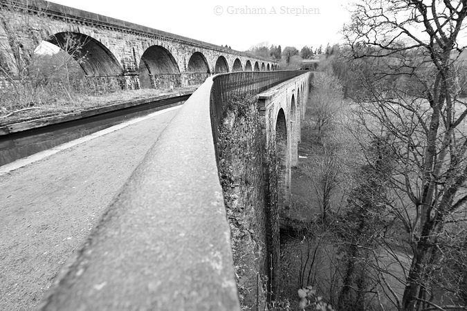 Chirk Aqueduct over the River Ceiriog with the later railway viaduct to the left