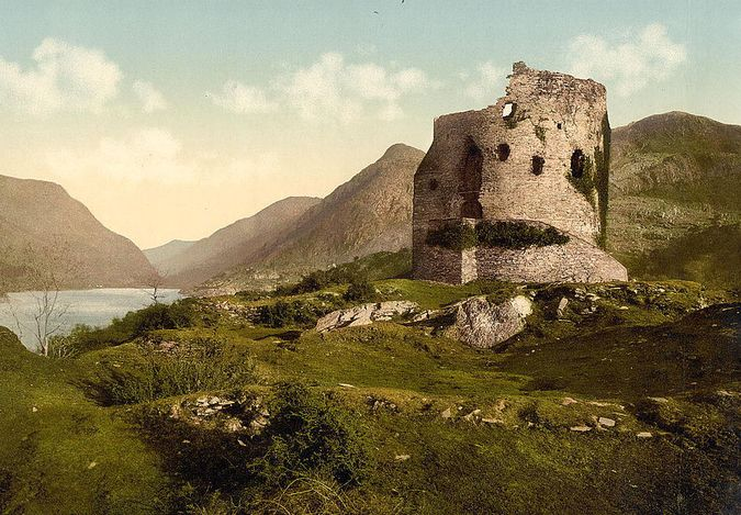 'Dolbadarn Castle'. Library of Congress collection of Views of landscape and architecture in Wales c. 1890-1900, photochrom prints (a lithographic process producing colourised images from black and white photographic negatives).