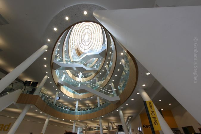 Looking up to the skylight from the atrium