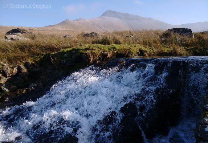 Llafar Weir, looking towards Yr Elen