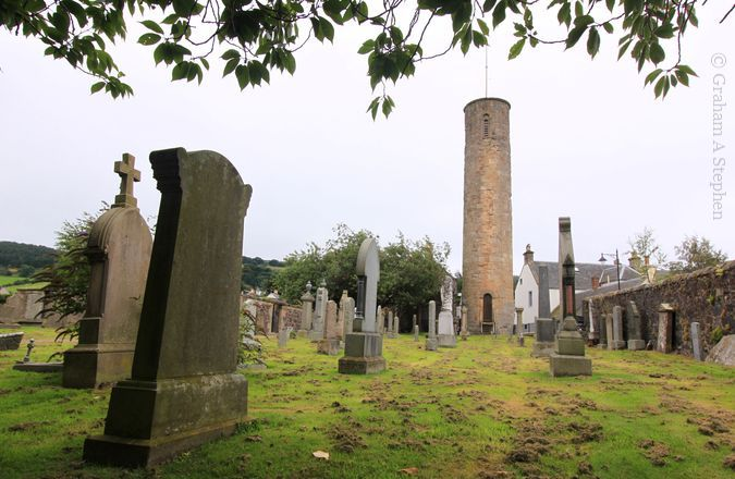 Abernethy Round Tower.  The tapering tower is approximately 22 metres high and 5 metres in diameter.