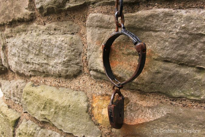 'Jougs' – similar in purpose to village stocks.  Those being punished would be shackled around the neck and kept here in public view.