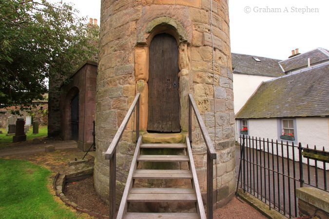 The entrance to the tower is in the corner of Abernethy Churchyard.