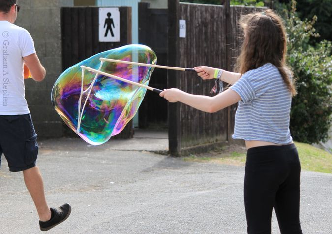 Man on mission ignores giant bubble