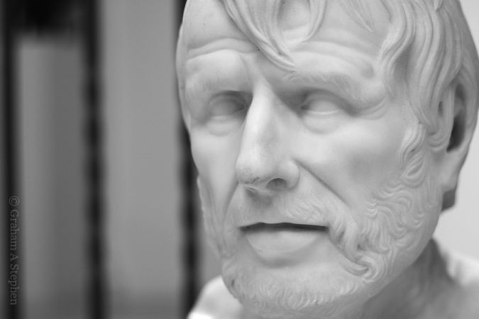 Classical bust of an elderly man, possibly Hesiod