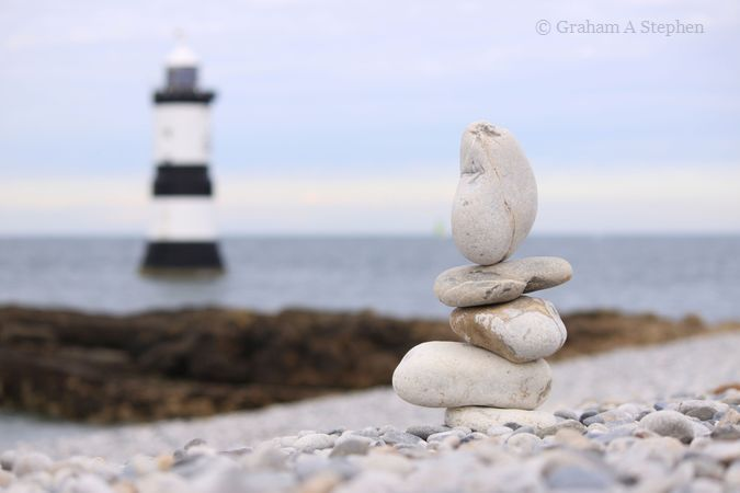 Rock balancing and Trwyn Du Lighthouse